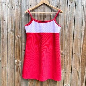 Retro Color Block 90s Red and White Mini Dress